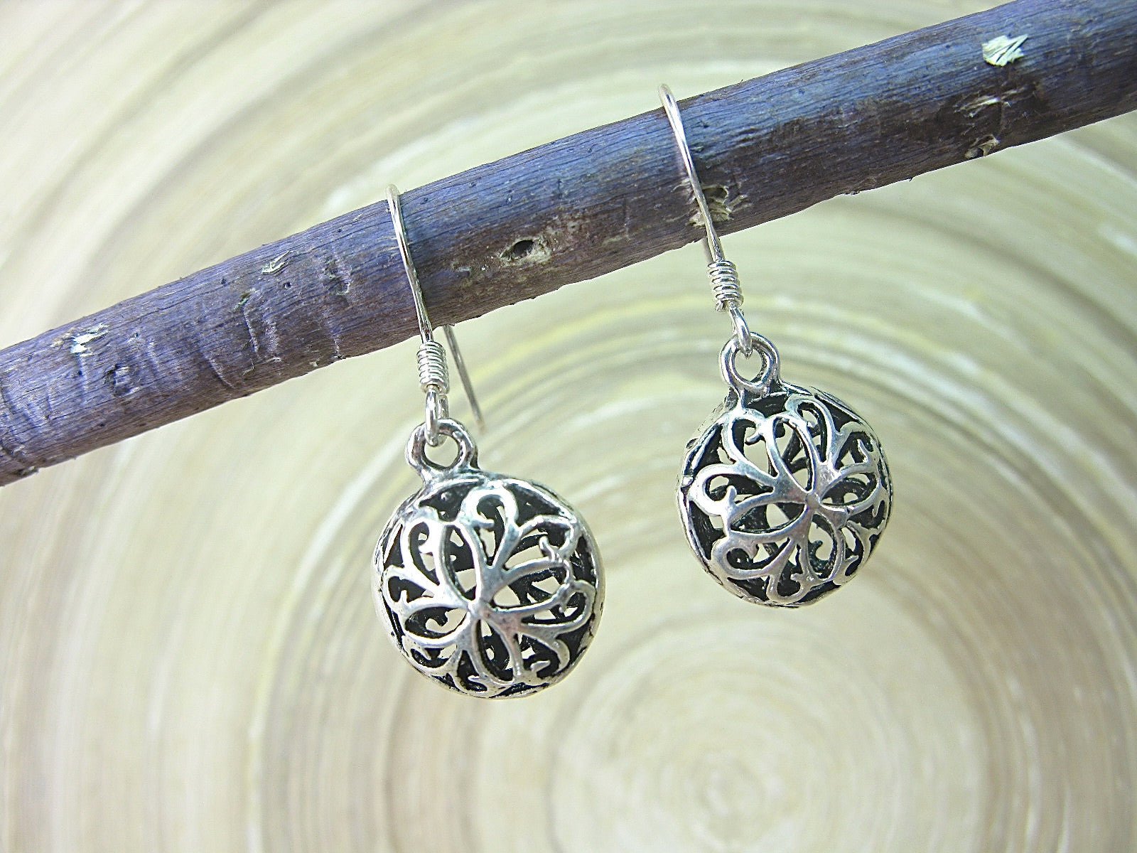 Filigree Lace Round Dangle Drop 925 Sterling Silver Earrings Earrings Faith Owl - Faith Owl