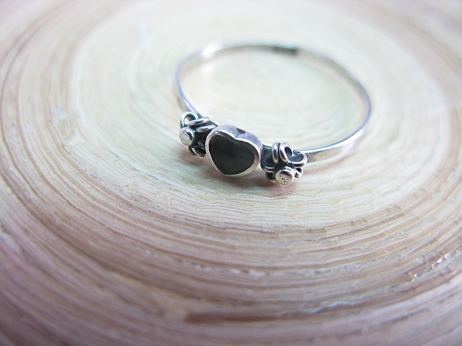 Onyx Heart Ring Minimalist Jewelry in 925 Sterling Silver Ring Faith Owl - Faith Owl