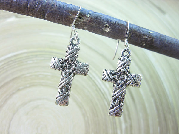Cross Engrave Oxidized Dangle Drop 925 Sterling Silver Earrings Earrings - Faith Owl