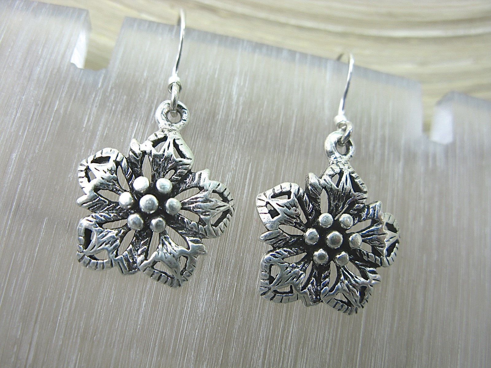Flower Tribal Dangle Drop Oxidized 925 Sterling Silver Earrings Earrings Faith Owl - Faith Owl