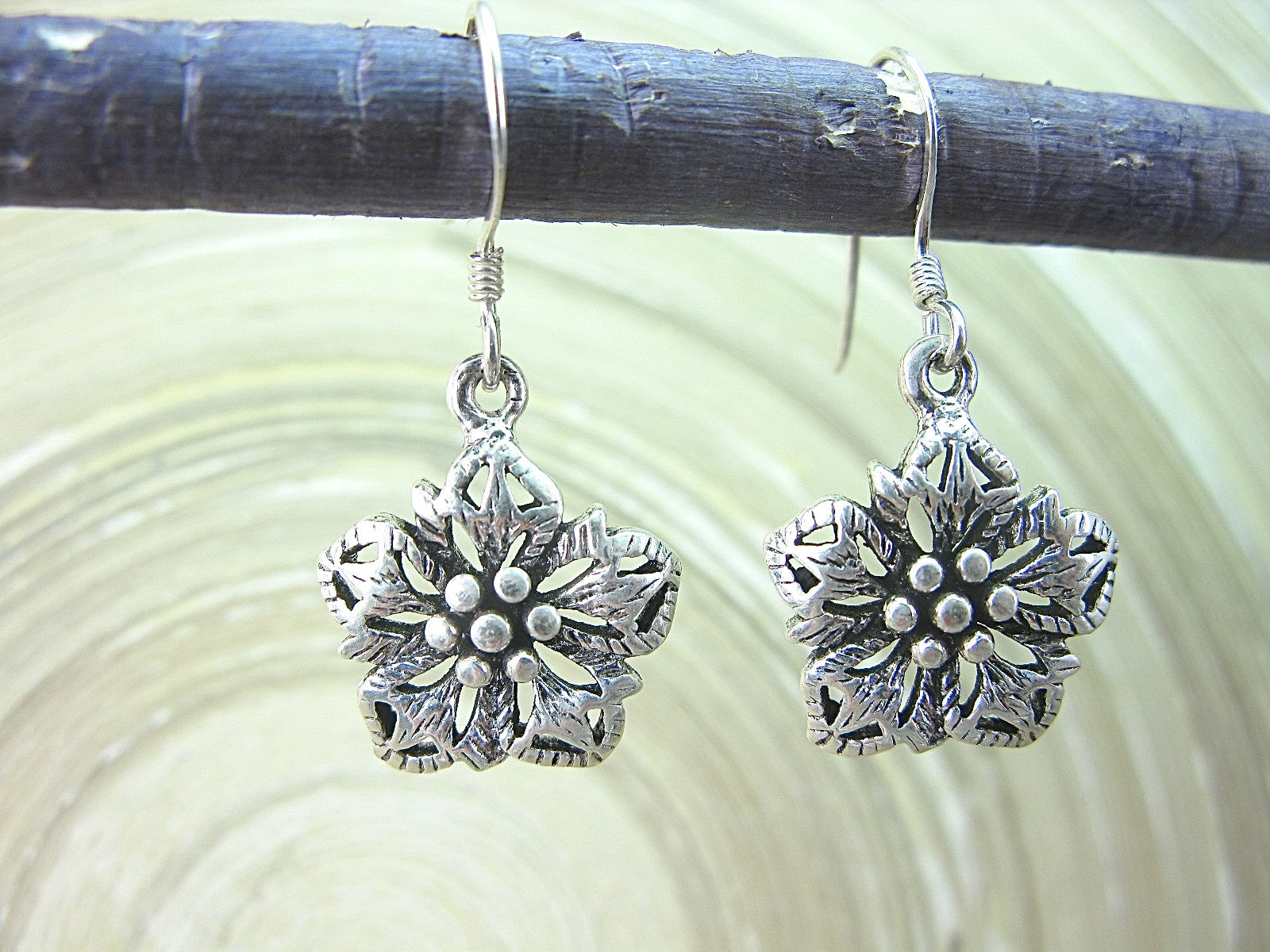 Flower Tribal Dangle Drop Oxidized 925 Sterling Silver Earrings Earrings - Faith Owl