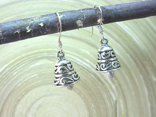 Bell Engrave Oxidized Dangle Drop 925 Sterling Silver Earrings Earrings - Faith Owl