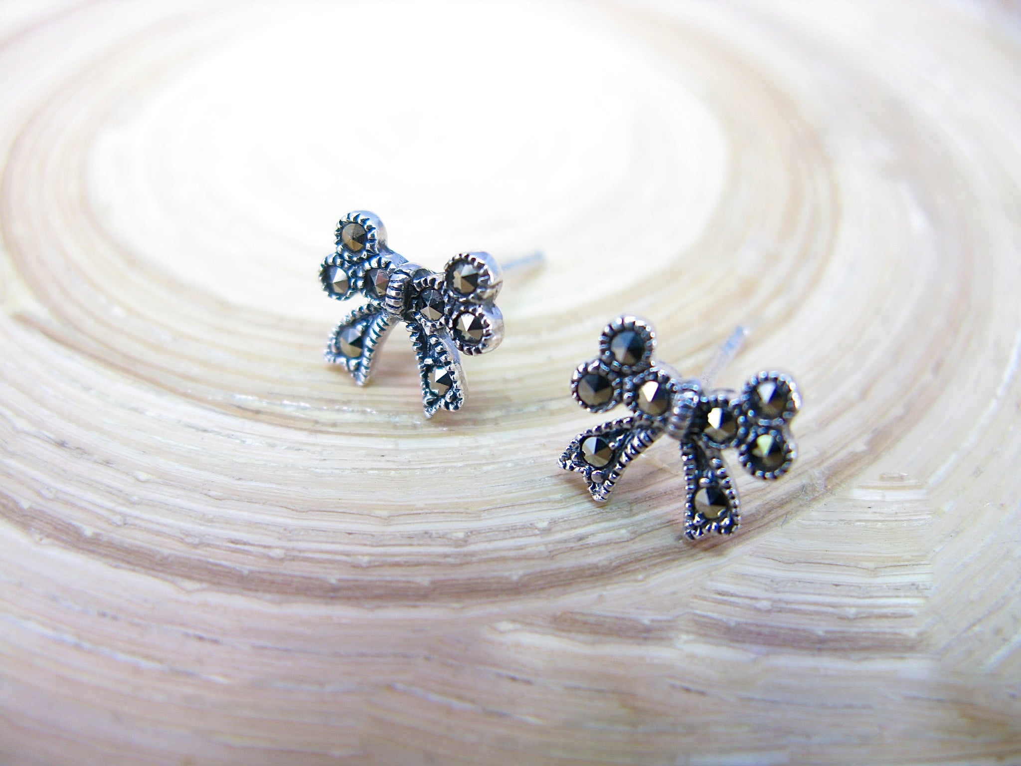 Ribbon Bow Marcasite 925 Sterling Silver Stud Earrings