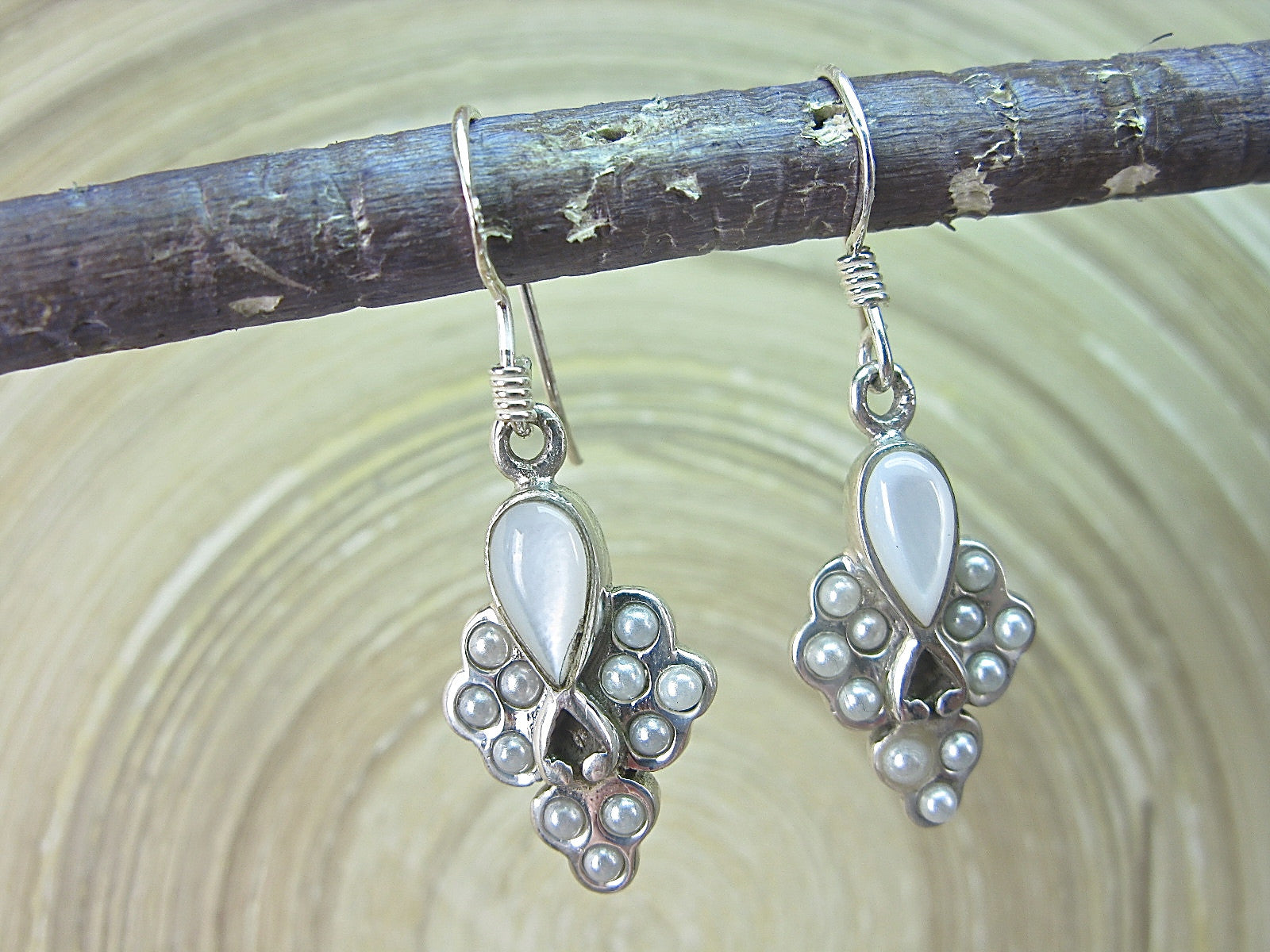 Mother Of Pearl Seed Pearl Vintage 925 Sterling Silver Earrings Earrings Faith Owl - Faith Owl