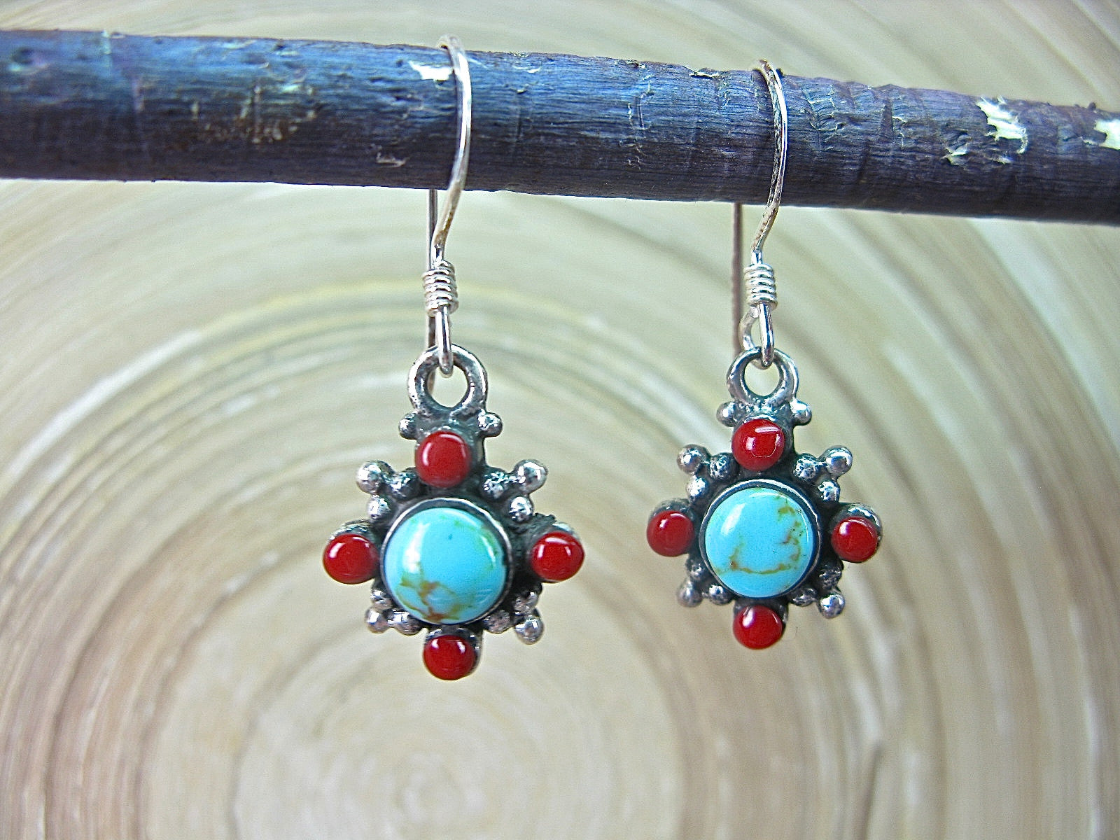 Turquoise Coral Dangle Oxidized 925 Sterling Silver Earrings