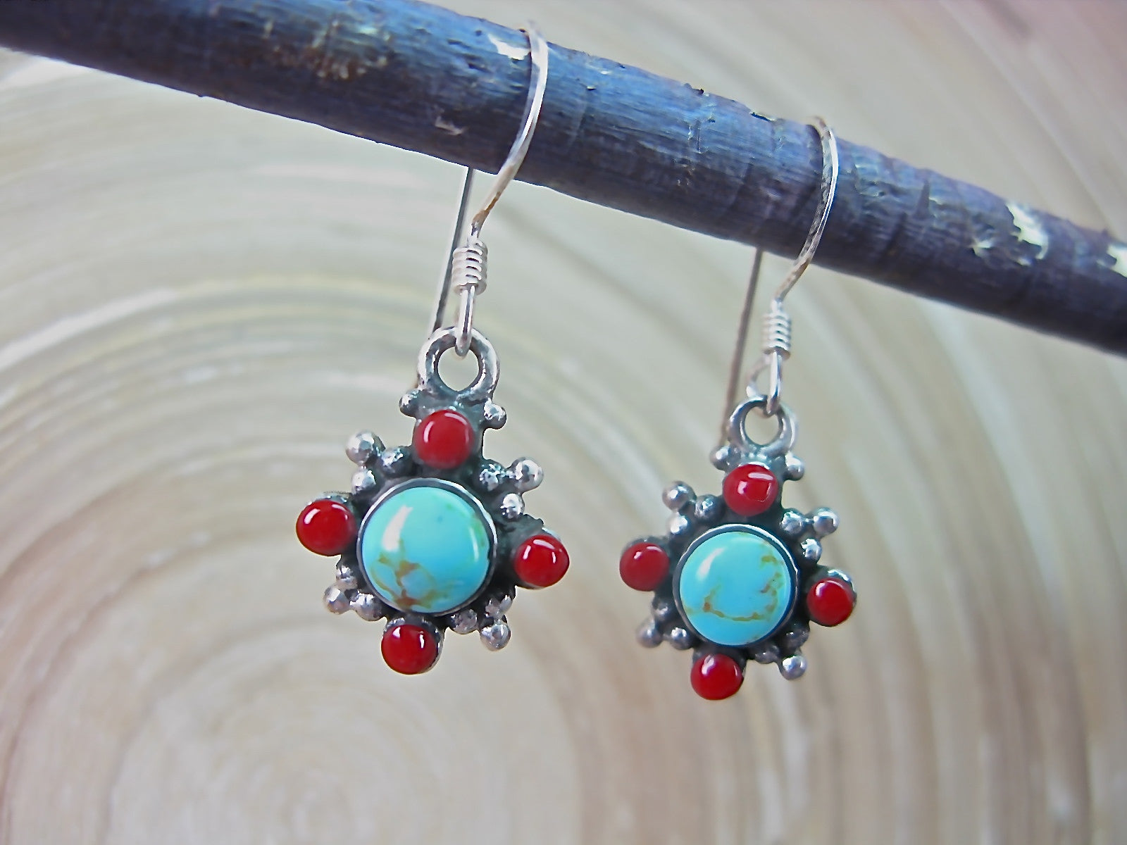 Turquoise Coral Dangle Oxidized 925 Sterling Silver Earrings Earrings Faith Owl - Faith Owl