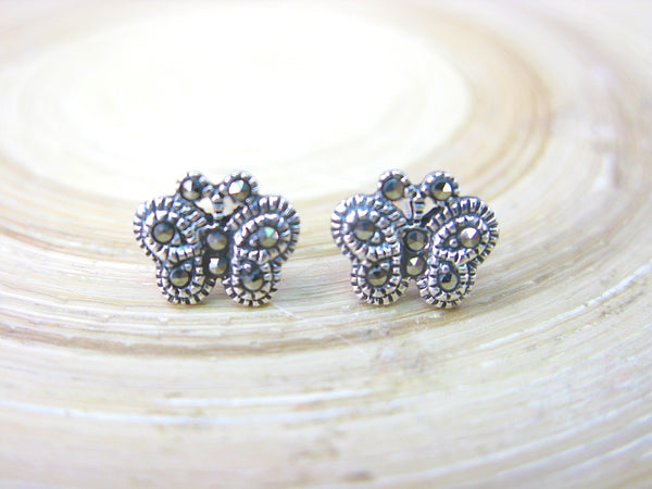 Butterfly Marcasite Stud Earrings in 925 Sterling Silver