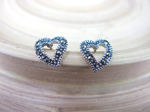 FaithOwl Heart Marcasite Vintage Look 925 Sterling Silver Stud Earrings