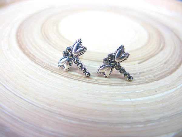 Dragonfly Marcasite 925 Sterling Silver Stud Earrings