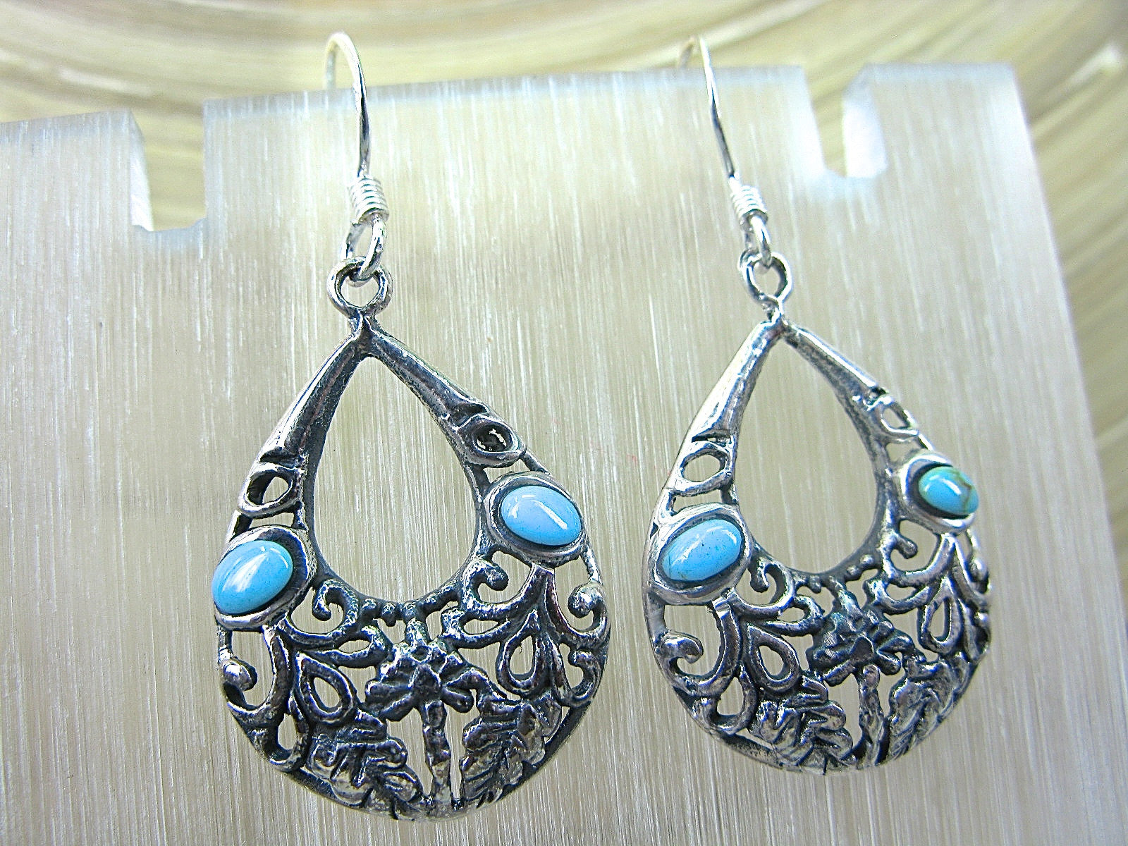 Turquoise Filigree Oxidized 925 Sterling Silver Earrings Earrings Faith Owl - Faith Owl