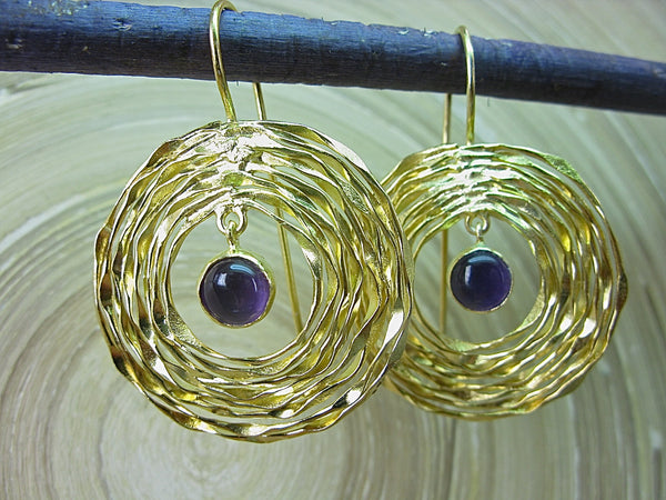 Amethyst Swirl Gold Plated 925 Sterling Silver Ear Wire Earrings Earrings - Faith Owl
