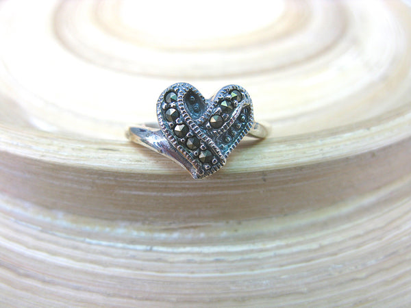Marcasite Woven Heart Ring in 925 Sterling Silver