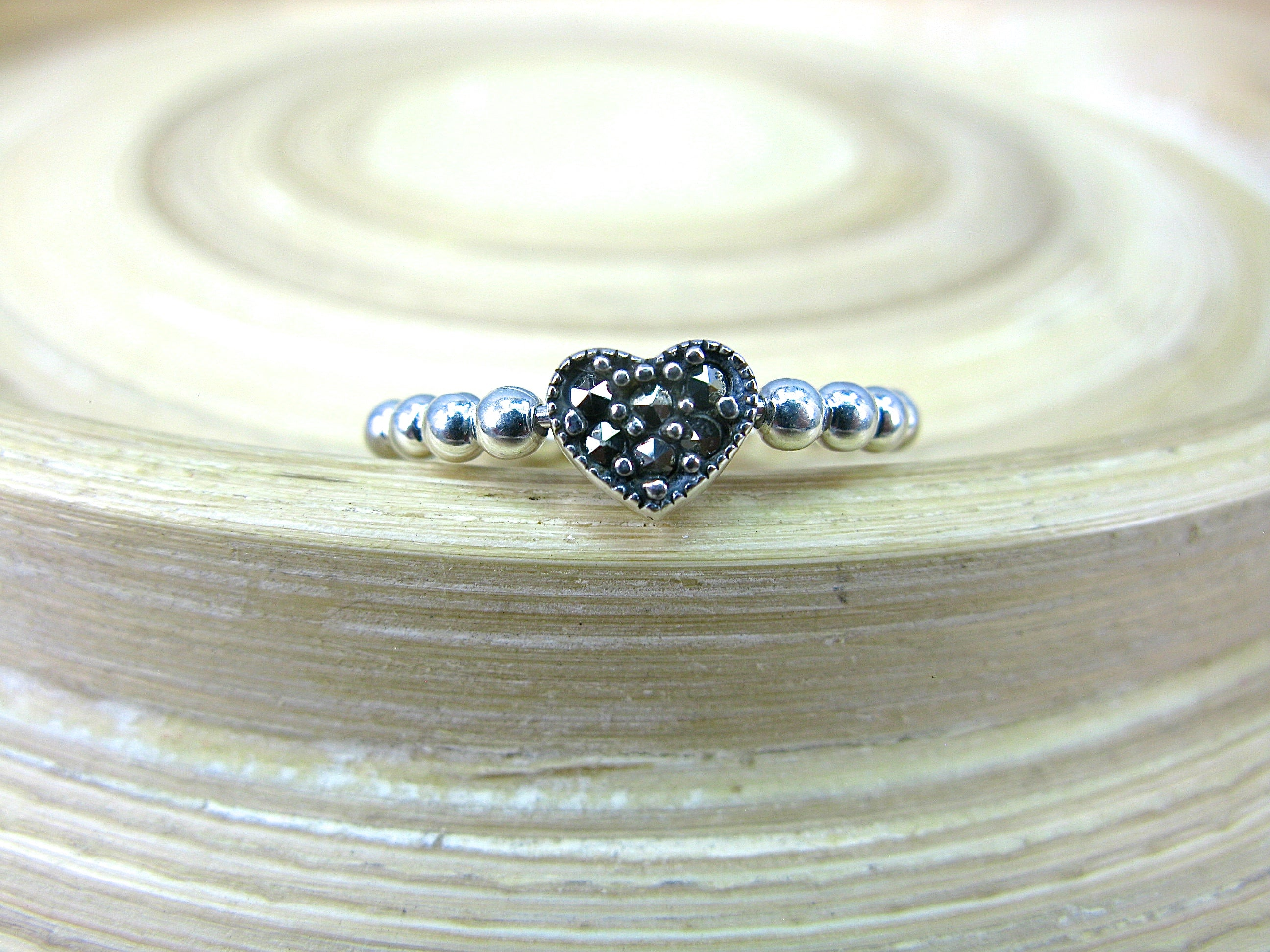 Heart Marcasite Eternity Ball Ring in 925 Sterling Silver