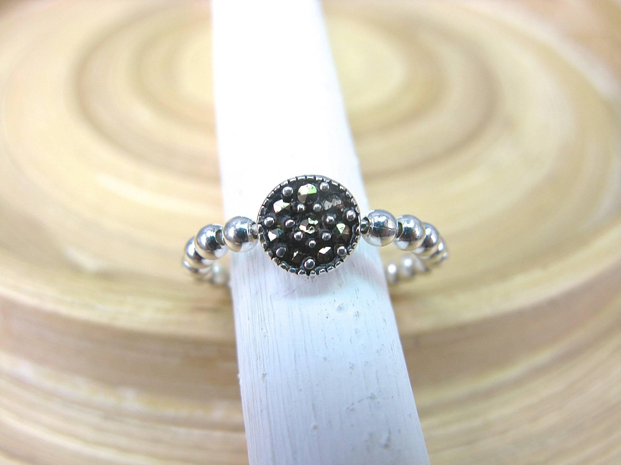 Round Marcasite Eternity Ball Ring in 925 Sterling Silver