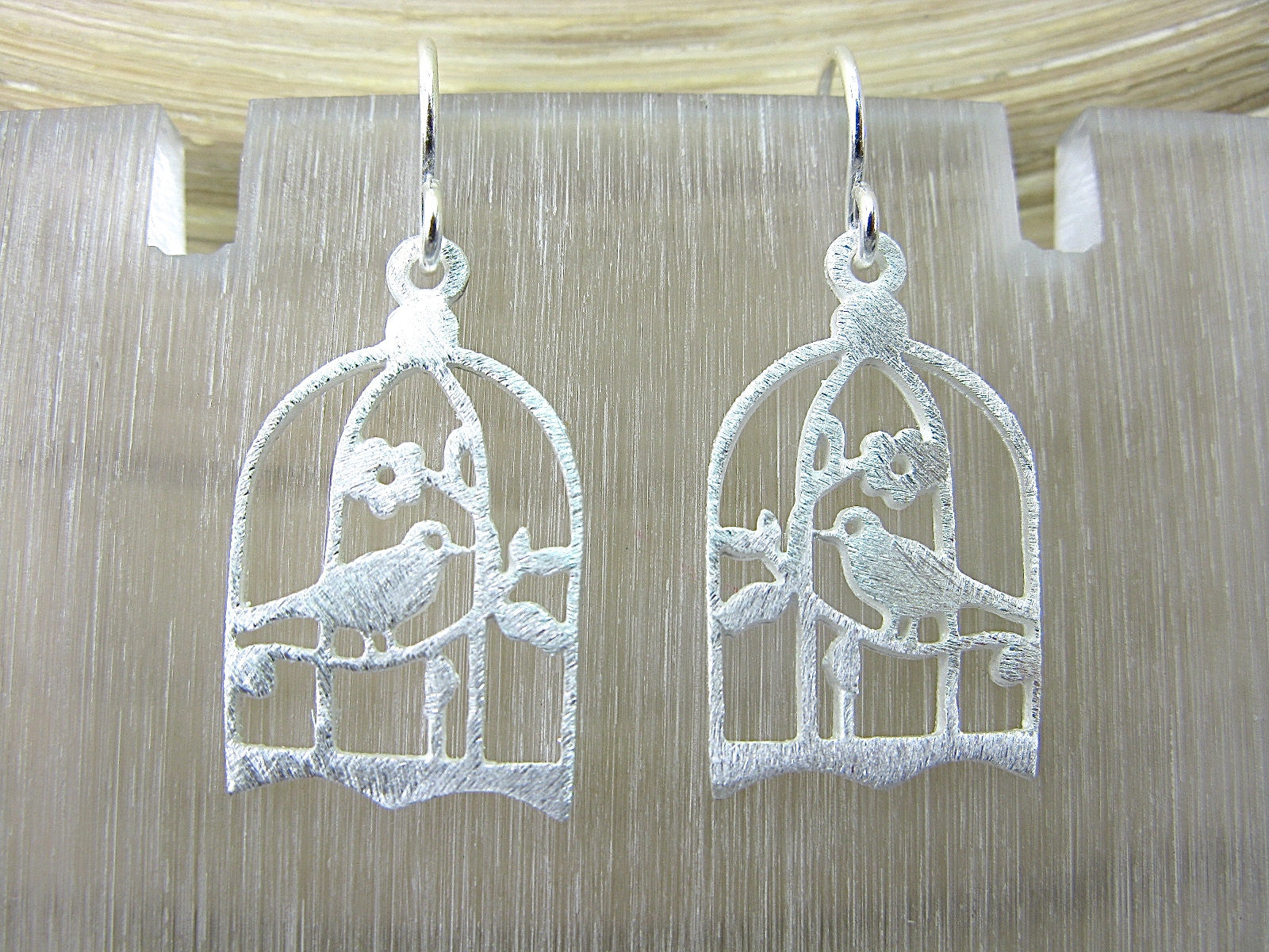 Bird Cage Filigree Lace Dangle Dangle 925 Sterling Silver Earrings Earrings - Faith Owl