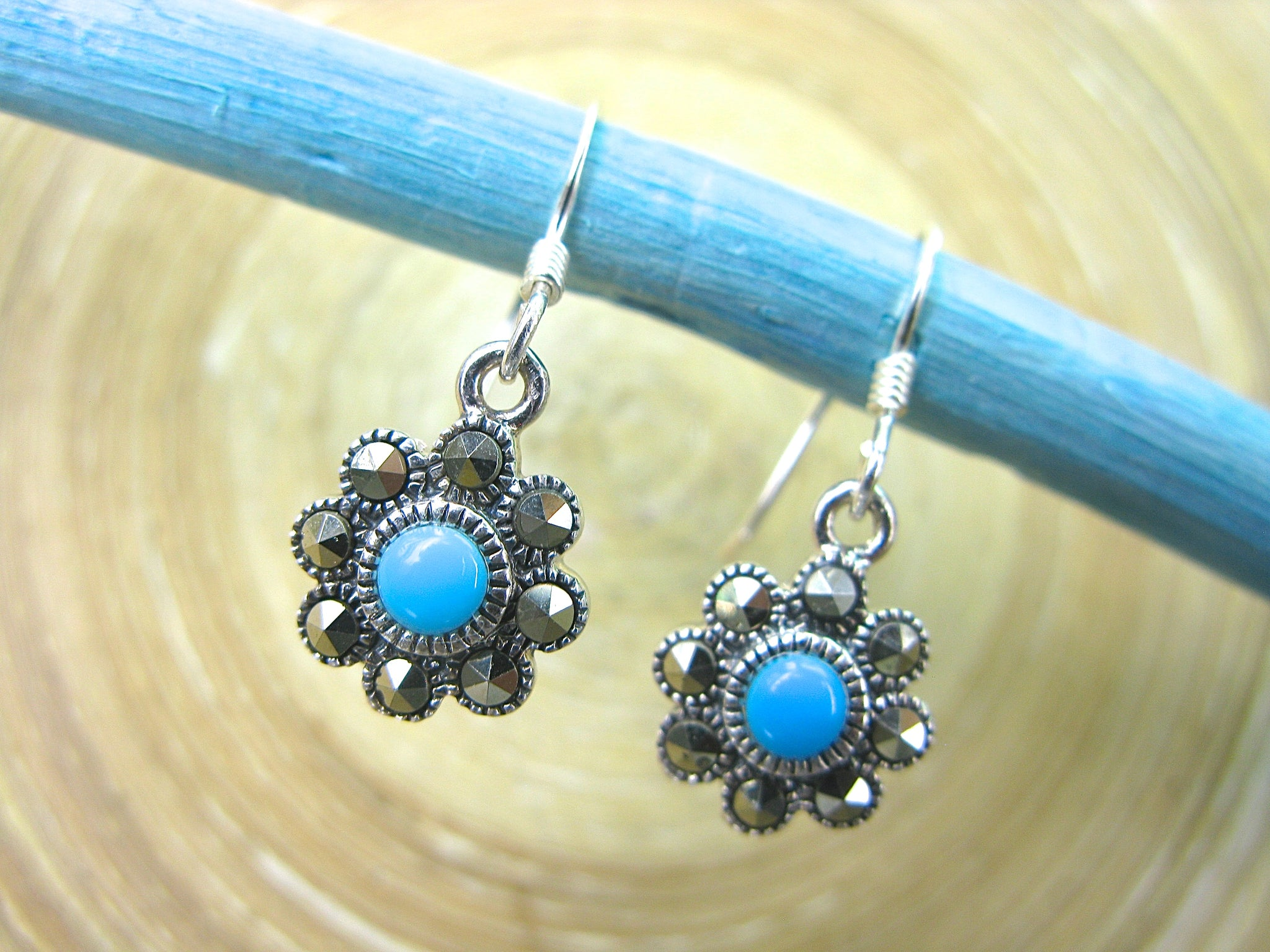 Flower Marcasite Turquoise Dangle 925 Sterling Silver Earrings