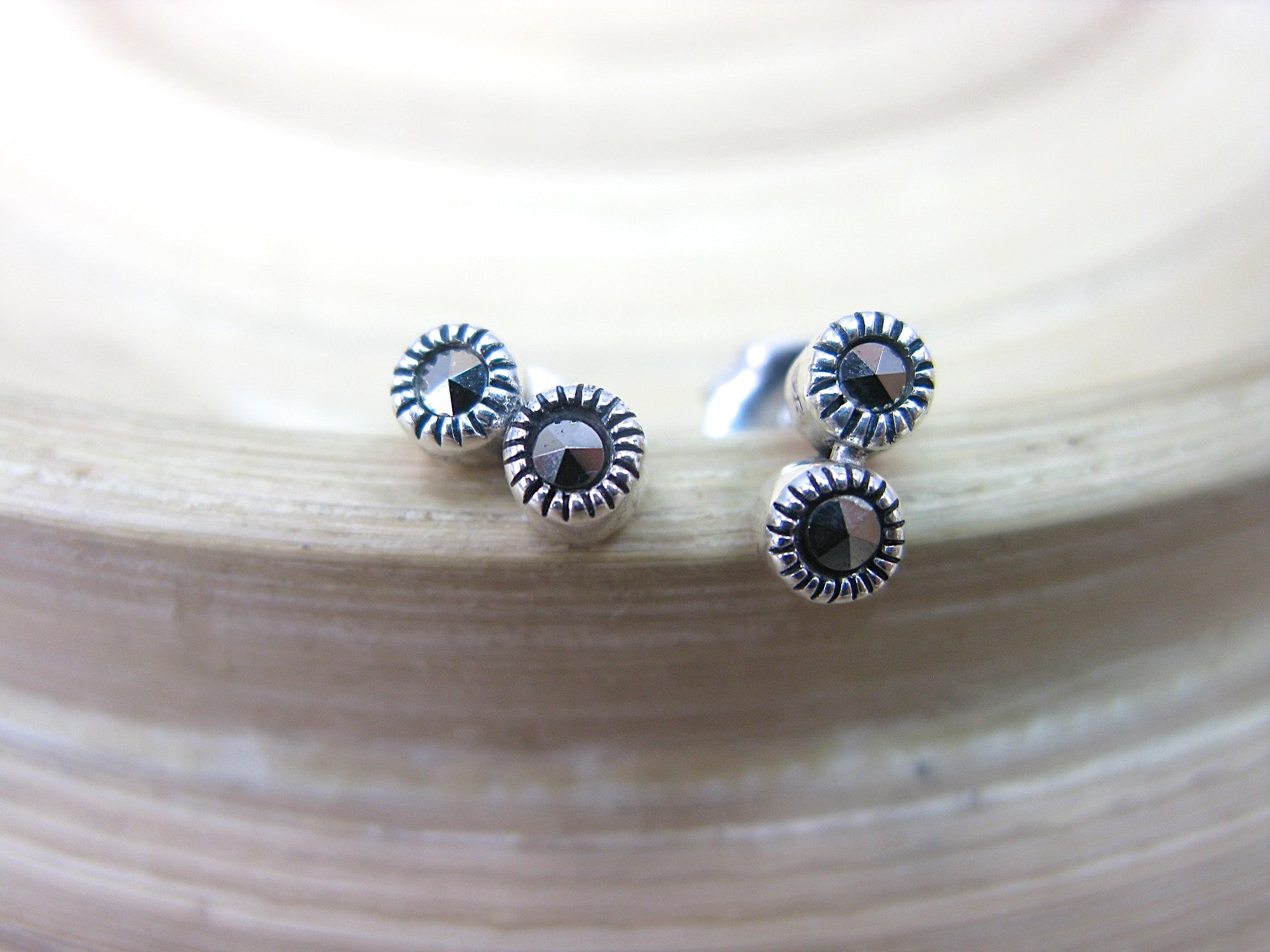 2 Round Minimalist Marcasite 925 Sterling Silver Stud Earrings
