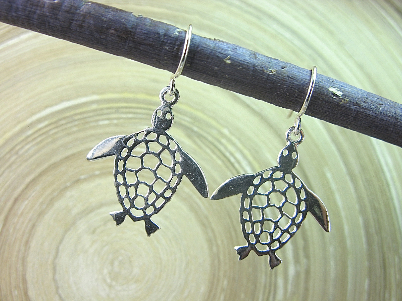 Turtle Filigree Dangle Drop 925 Sterling Silver Earrings Earrings Faith Owl - Faith Owl