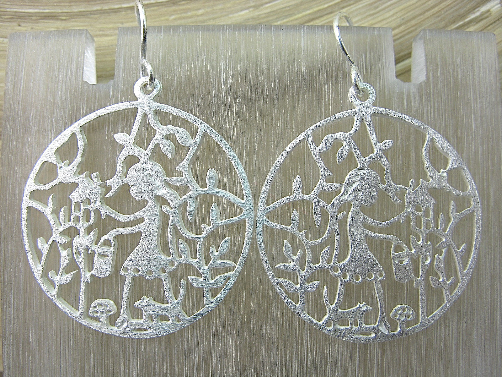 Girl Filigree Lace Round Garden Dangle 925 Sterling Silver Earrings Earrings Faith Owl - Faith Owl
