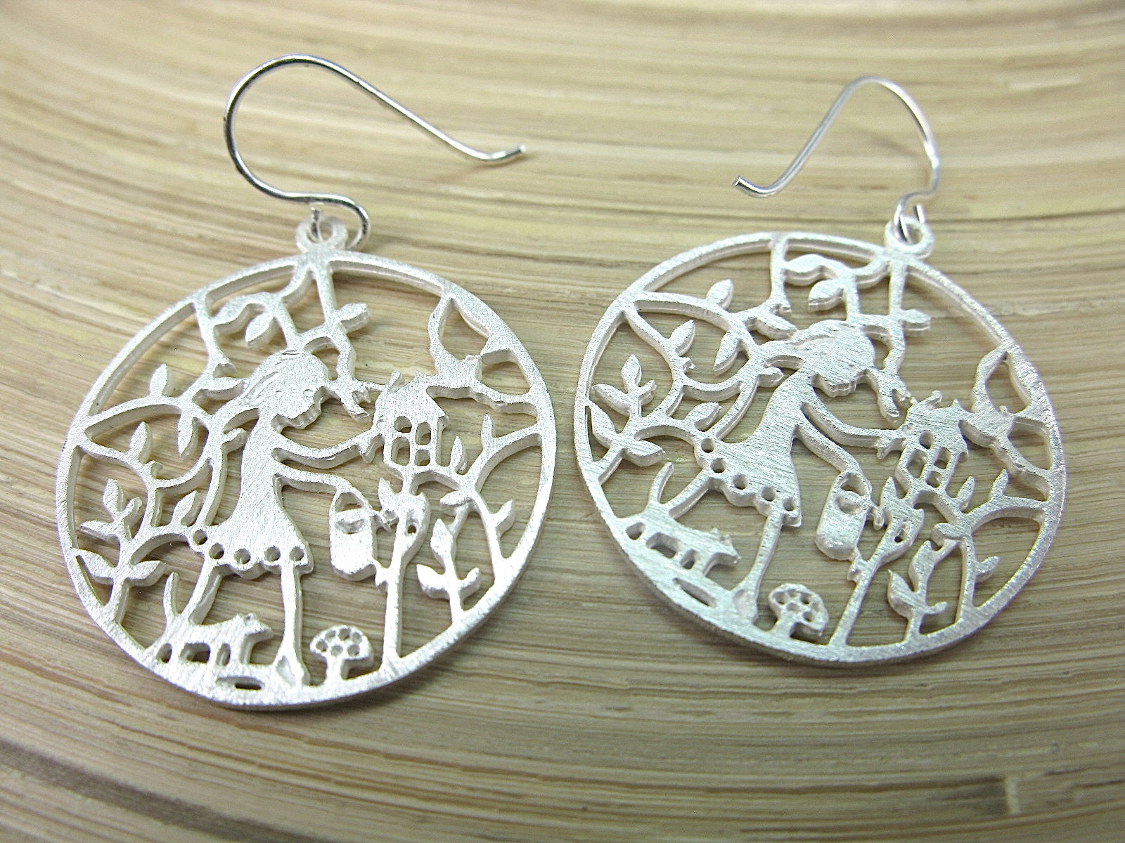 Girl Filigree Lace Round Garden Dangle 925 Sterling Silver Earrings Earrings - Faith Owl