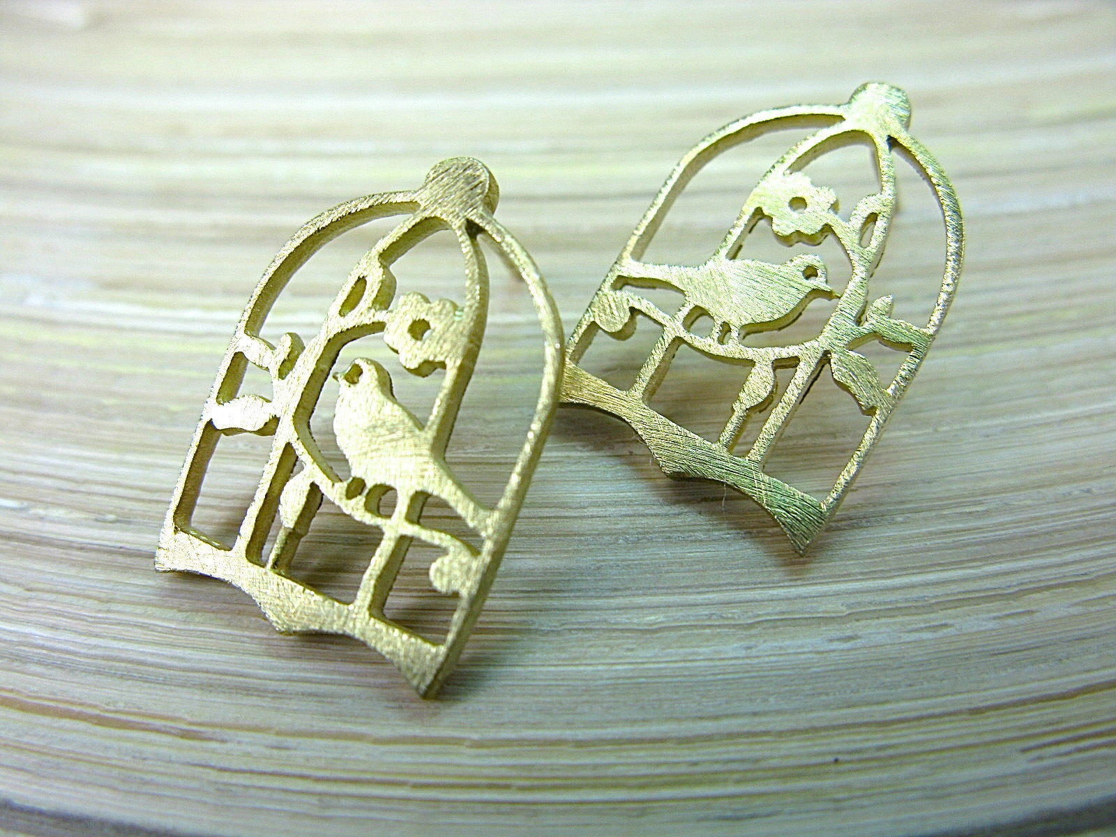 Bird Cage Gold Plated 925 Sterling Silver Post Earrings Stud - Faith Owl