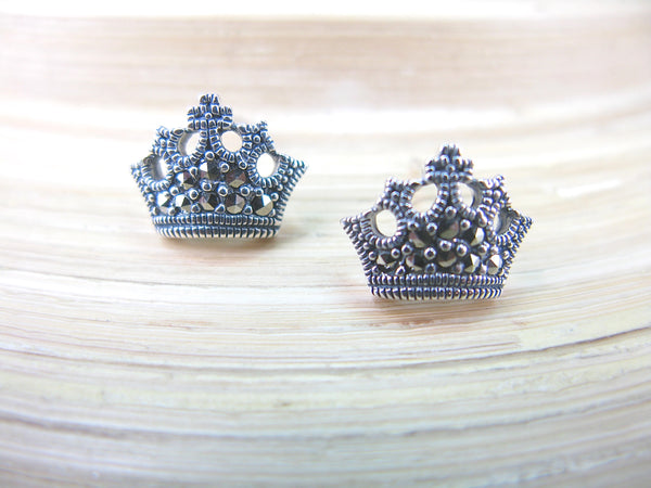 Crown Tiara Marcasite 925 Sterling Silver Stud Earrings