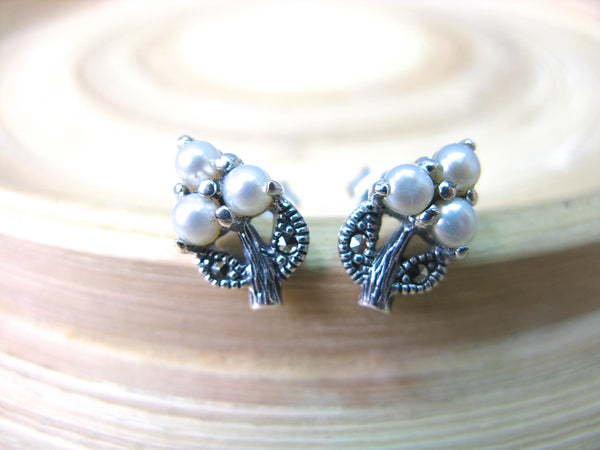 Grape Leaf Marcasite Fresh Water Pearl 925 Sterling Silver Stud Earrings