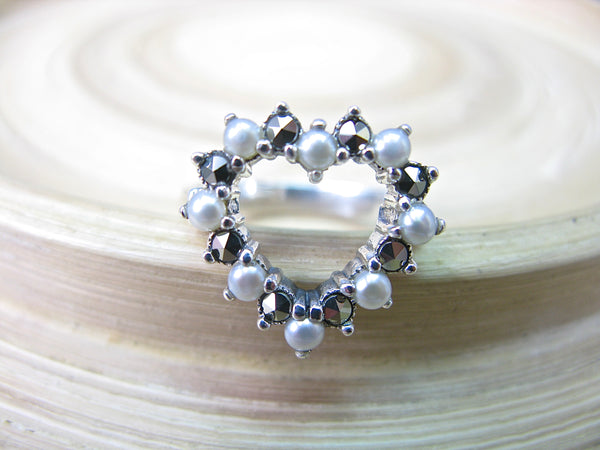 Heart Marcasite Fresh Water Pearl 925 Sterling Silver Ring