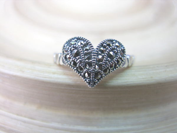 Marcasite Heart Ring in 925 Sterling Silver