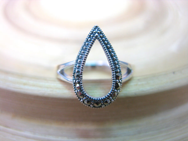 Pear Shaped Water Drop Marcasite Filigree Ring in 925 Sterling Silver