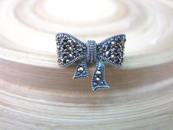 Ribbon Bow Marcasite Vintage Look 925 Sterling Silver Ring
