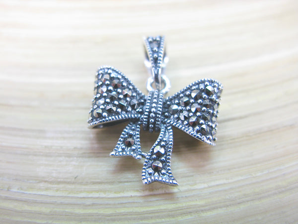 Ribbon Bow Marcasite 925 Sterling Silver Pendant