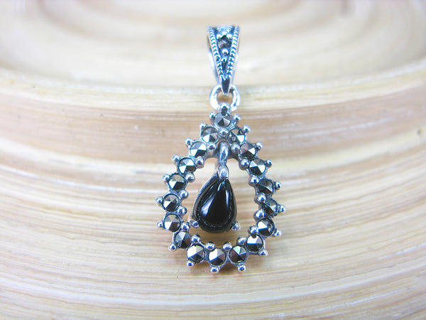 Water Drop Pear Shaped Onyx Marcasite 925 Sterling Silver Pendant