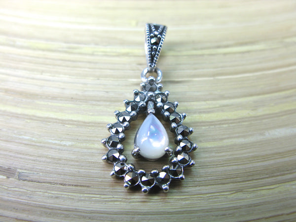Water Drop Pear Shaped Mother of Pearl Marcasite 925 Sterling Silver Pendant