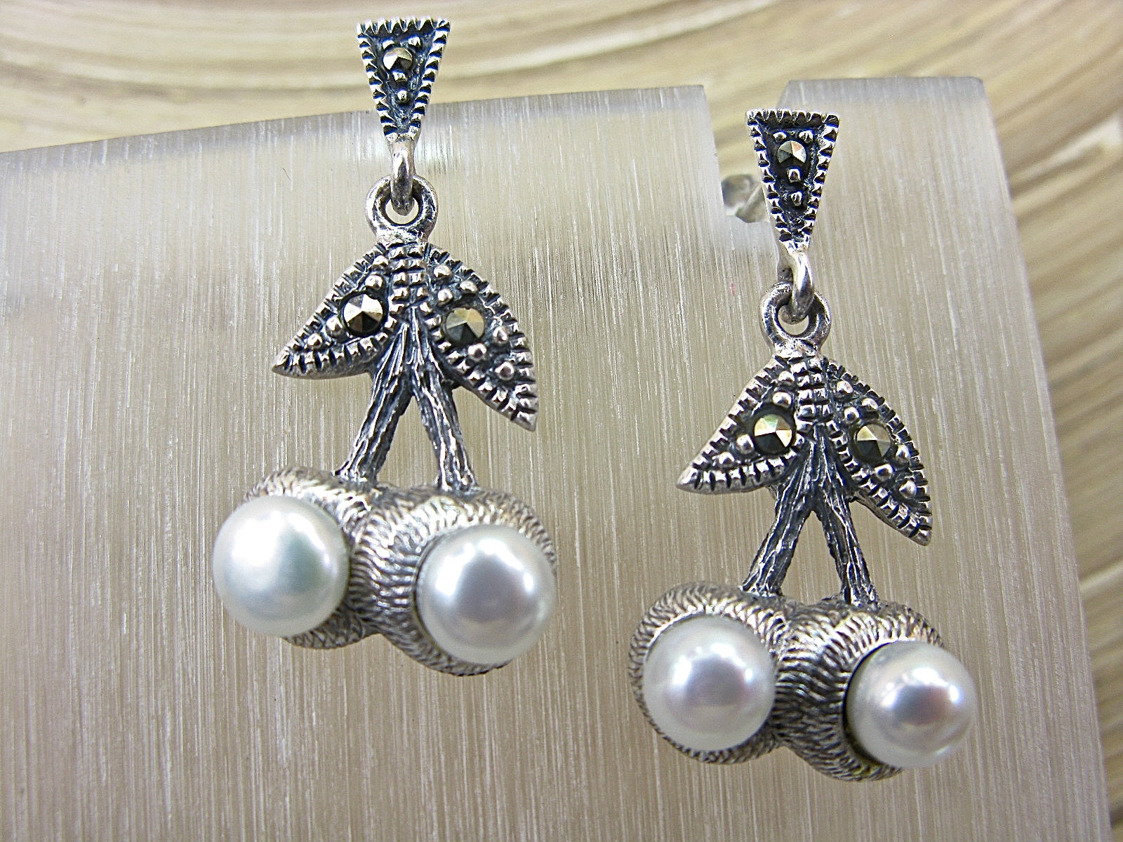 Cherry Marcasite Vintage Pearl Dangle 925 Sterling Silver Earrings Earrings - Faith Owl