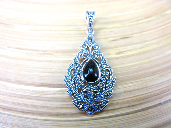 Water Drop Pear Shaped Onyx Fiigree Marcasite 925 Sterling Silver Pendant