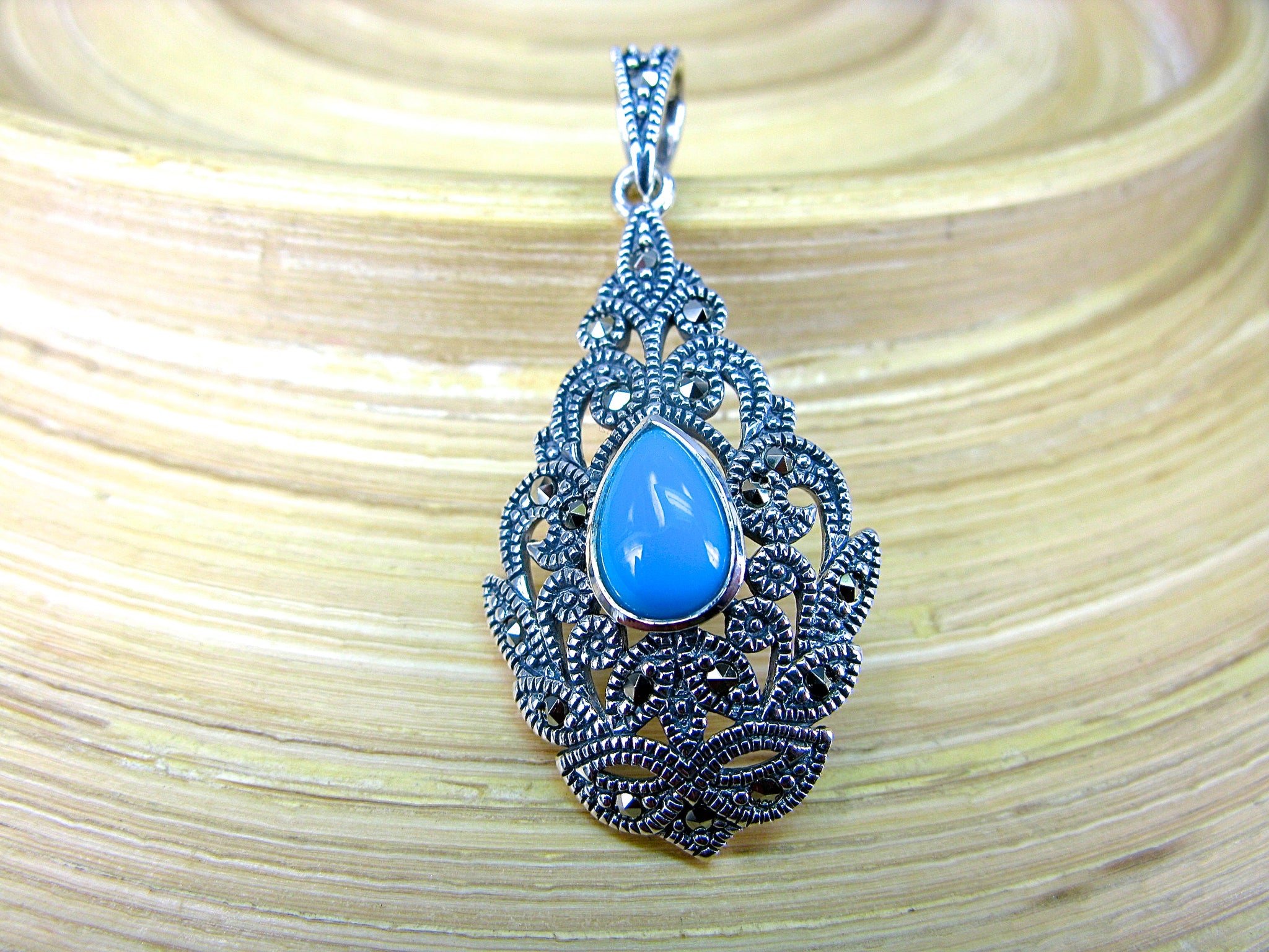 Water Drop Pear Shaped Turquoise Fiigree Marcasite 925 Sterling Silver Pendant