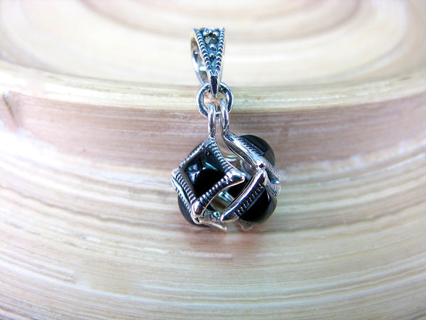 Cube Box Marcasite Onyx Pendant in 925 Sterling Silver
