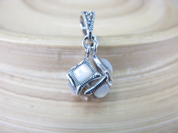 Cube Box Marcasite Mother of Pearl Pendant in 925 Sterling Silver