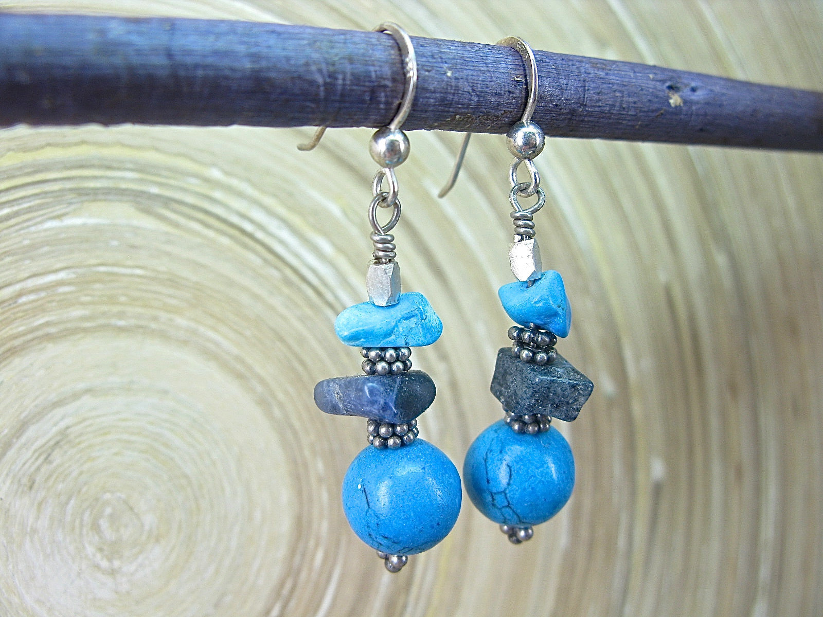 Turquoise Lapis Lazuli Elongated 925 Sterling Silver Earrings Earrings Faith Owl - Faith Owl