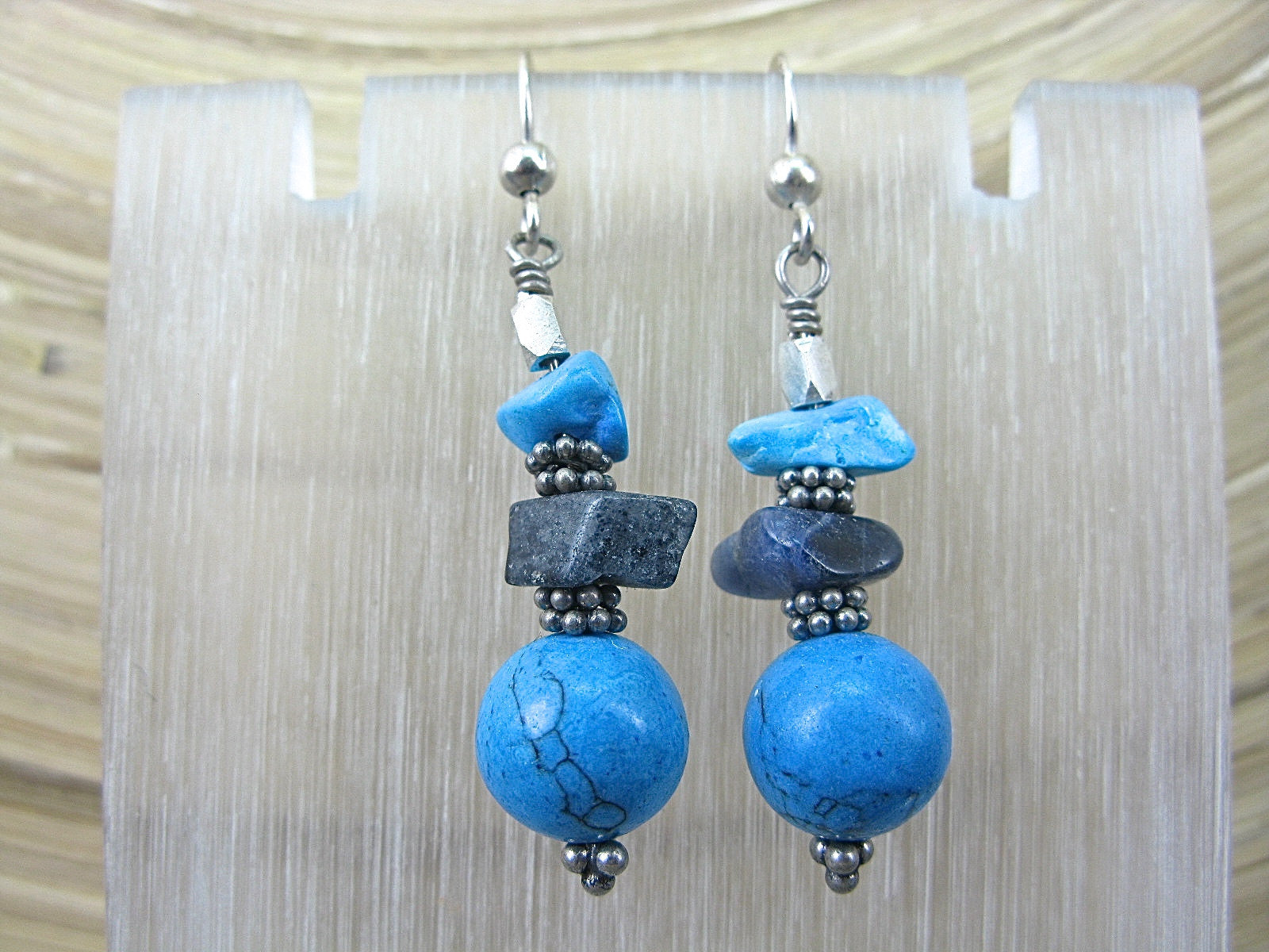 Turquoise Lapis Lazuli 925 Sterling Silver Earrings