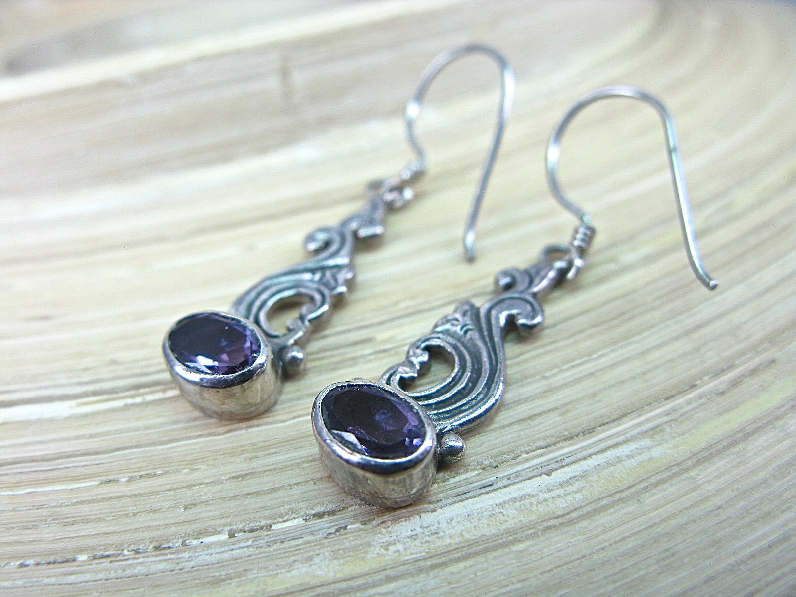 Amethyst Balinese Dangle 925 Sterling Silver Earrings Earrings - Faith Owl