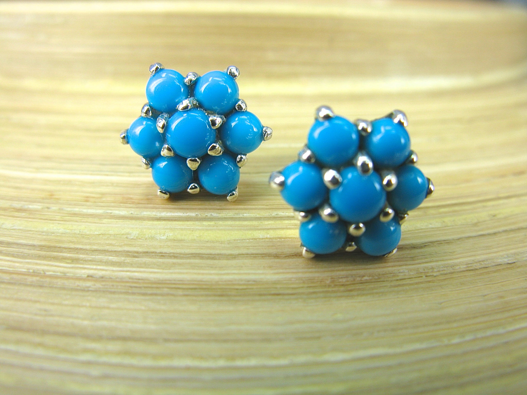 Turquoise Flower 925 Sterling Silver Stud Earrings