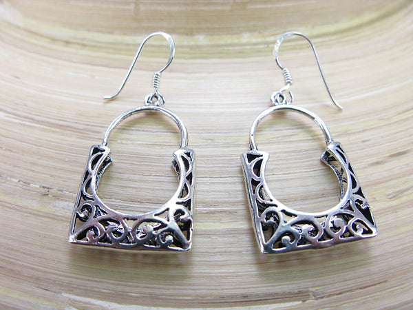 Balinese Filigree Basket Dangle 925 Sterling Silver Earrings