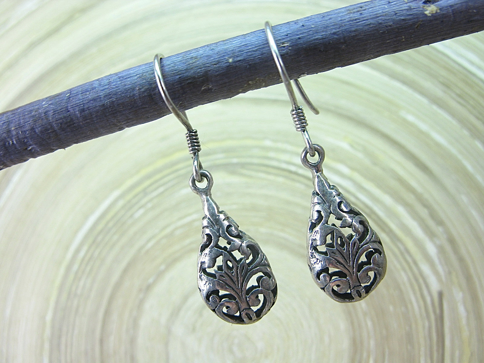 Filigree  Lace Dangle Drop Oxidized 925 Sterling Silver Earrings Earrings Faith Owl - Faith Owl