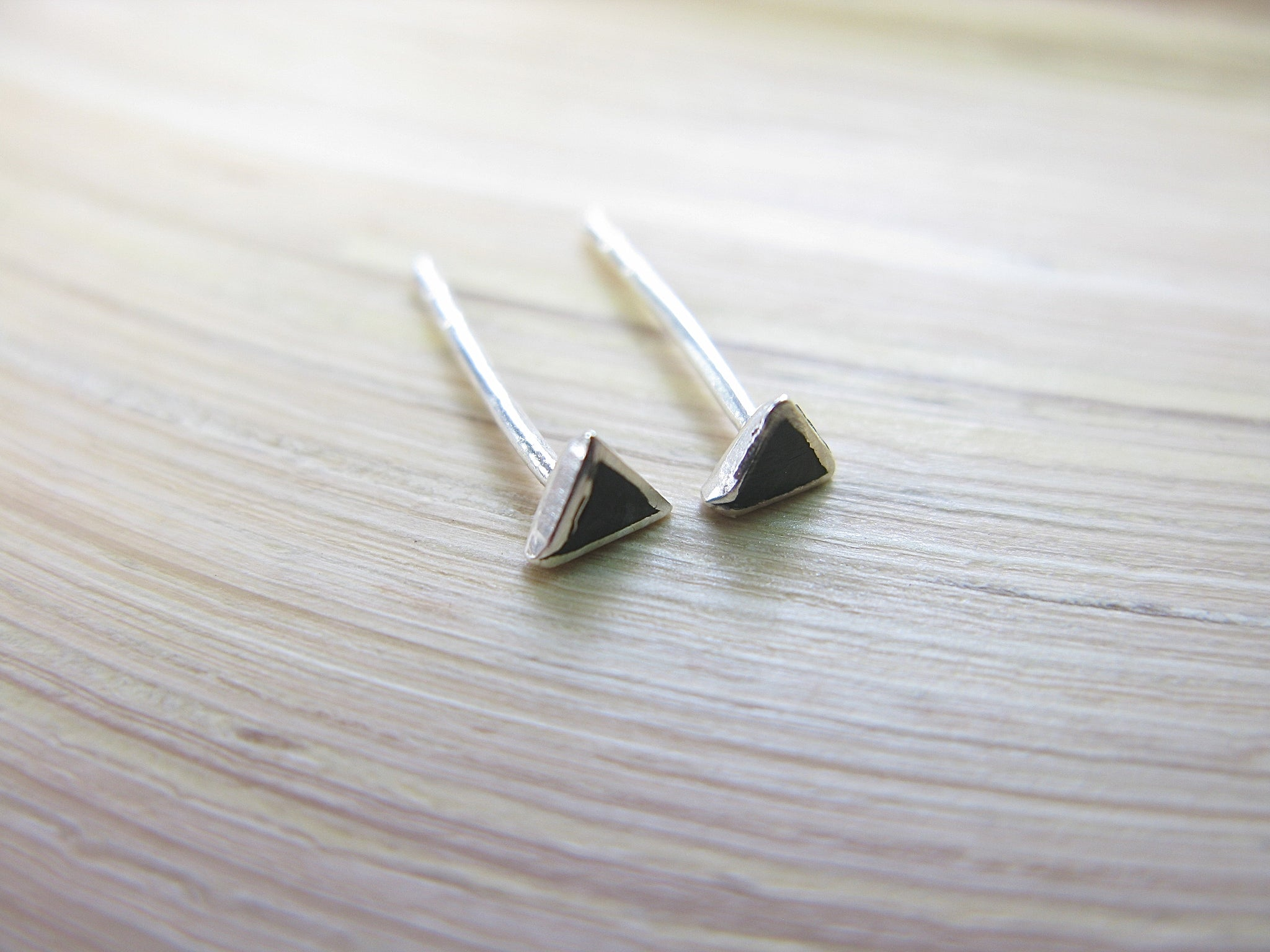 Onyx 3mm Tiny Triangle Stud Earrings in 925 Sterling Silver