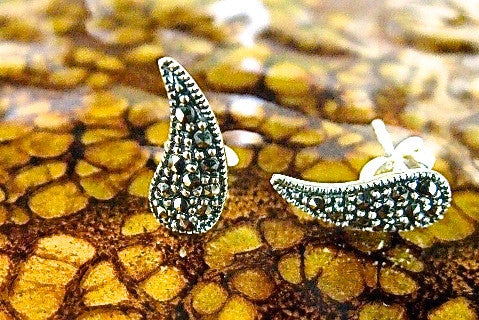 Water Drop Marcasite 925 Sterling Silver Stud Earrings