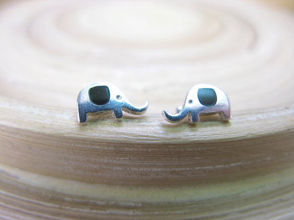 Elephant Onyx Stud Earrings in 925 Sterling Silver