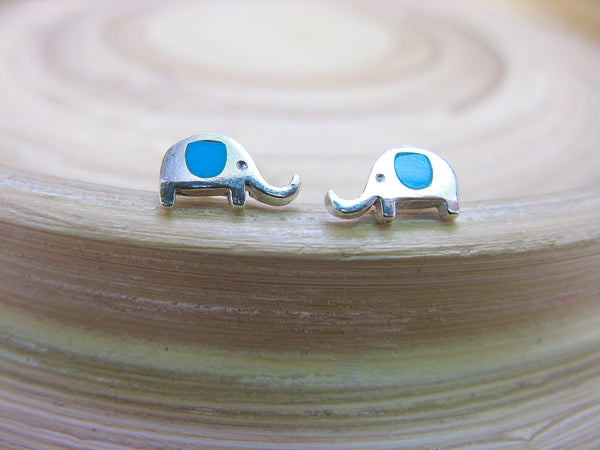 Elephant Turquoise Stud Earrings in 925 Sterling Silver