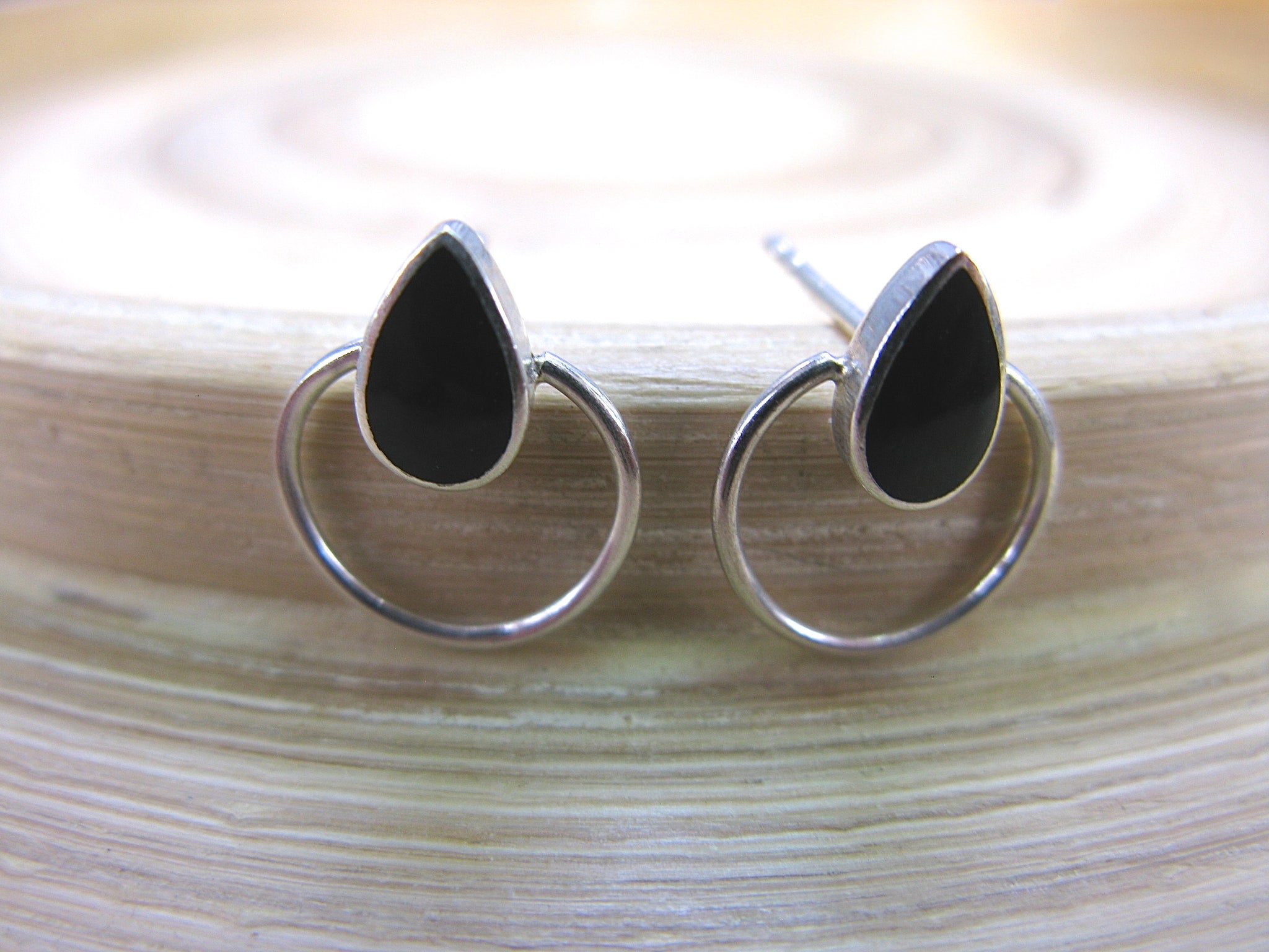 Onyx Stud Earrings in 925 Sterling Silver
